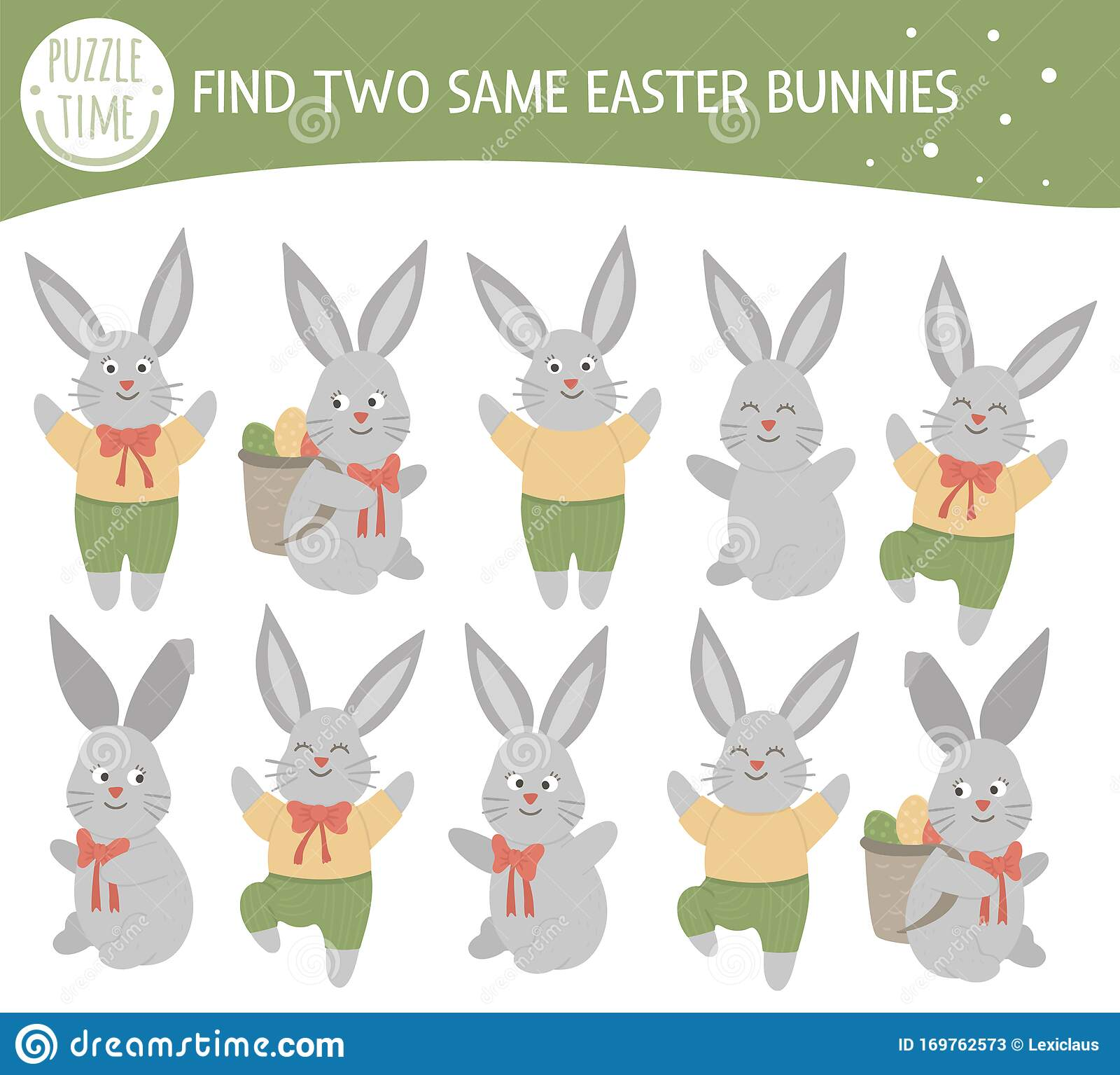 Find Two Same Bunnies Easter Matching Activity For
