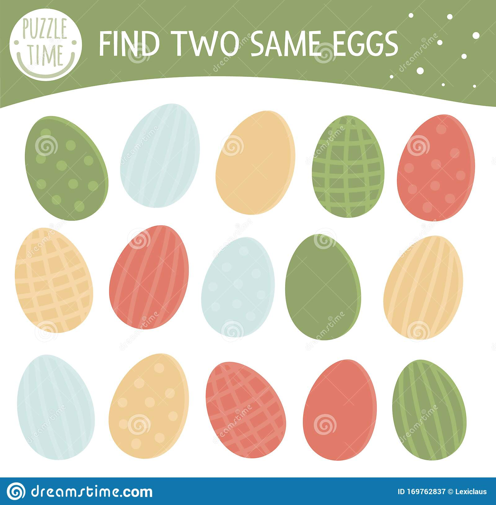 Find Two Same Colored Eggs Easter Matching Activity For