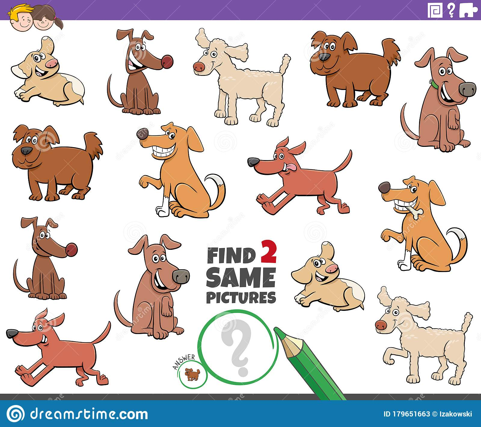 Find Two Same Dog Characters Task For Kids Stock Vector