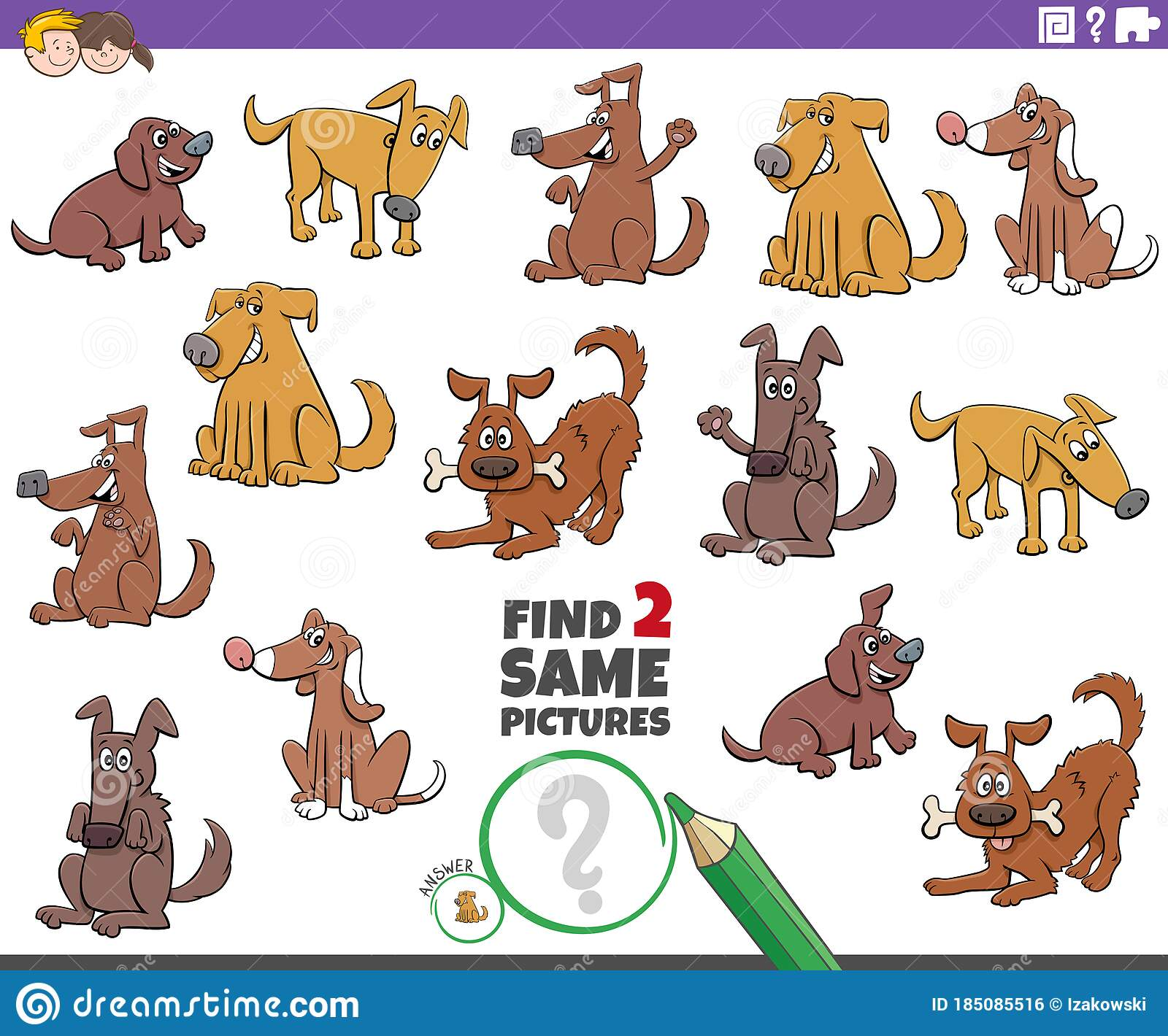 Find Two Same Dogs Educational Game For Children Stock