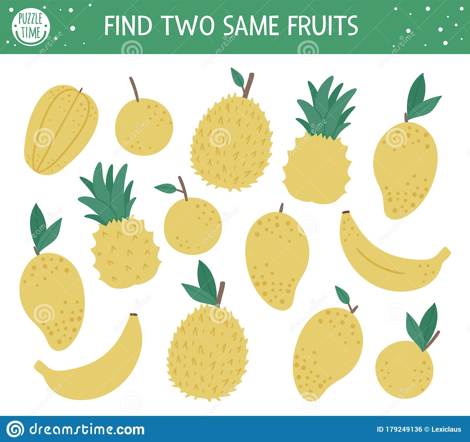 Find Two Same Fruits Tropical Matching Activity For