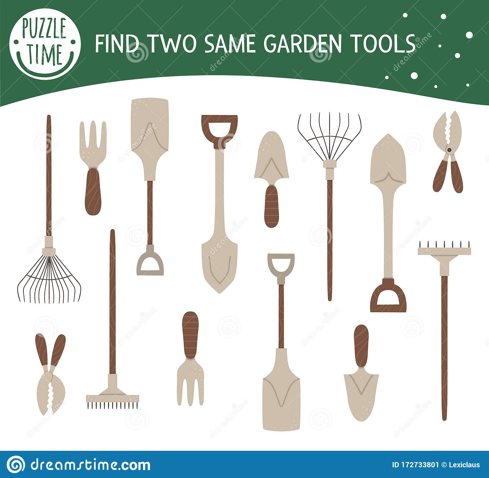 Find Two Same Garden Tools Garden Or Farm Themed Matching