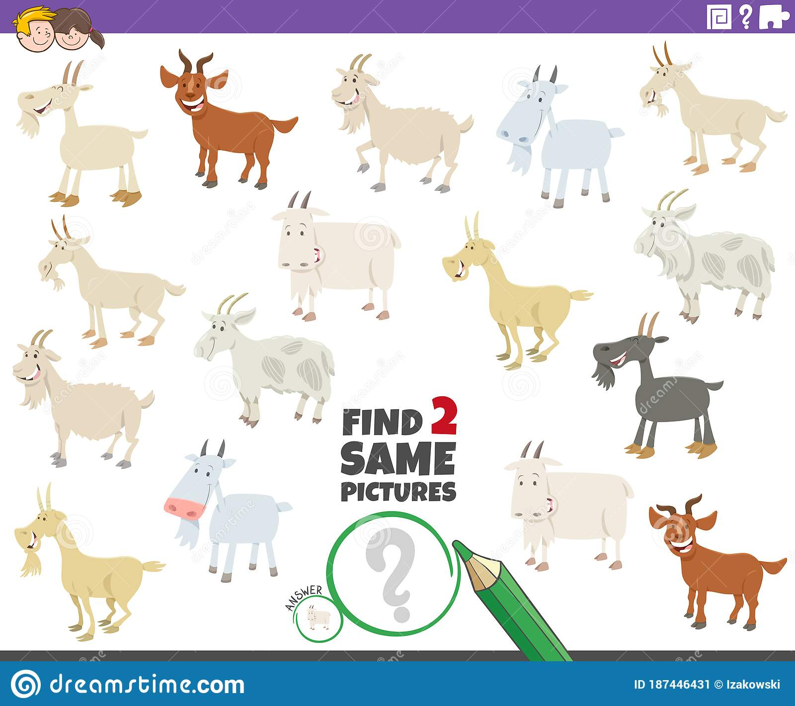 Find Two Same Goats Educational Game For Children Stock