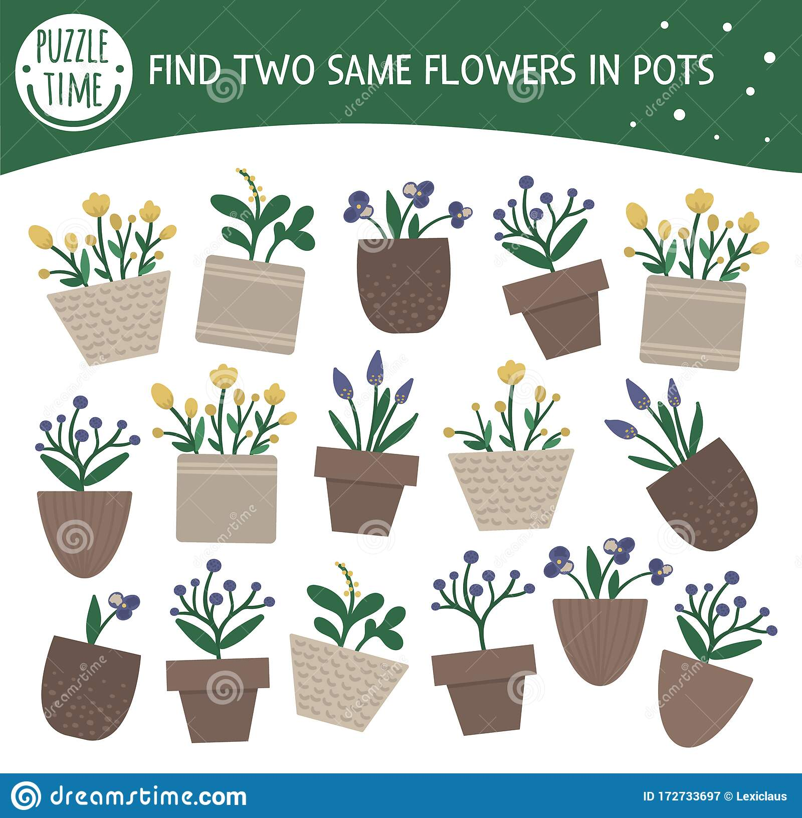 Find Two Same Houseplants Garden Themed Matching Activity