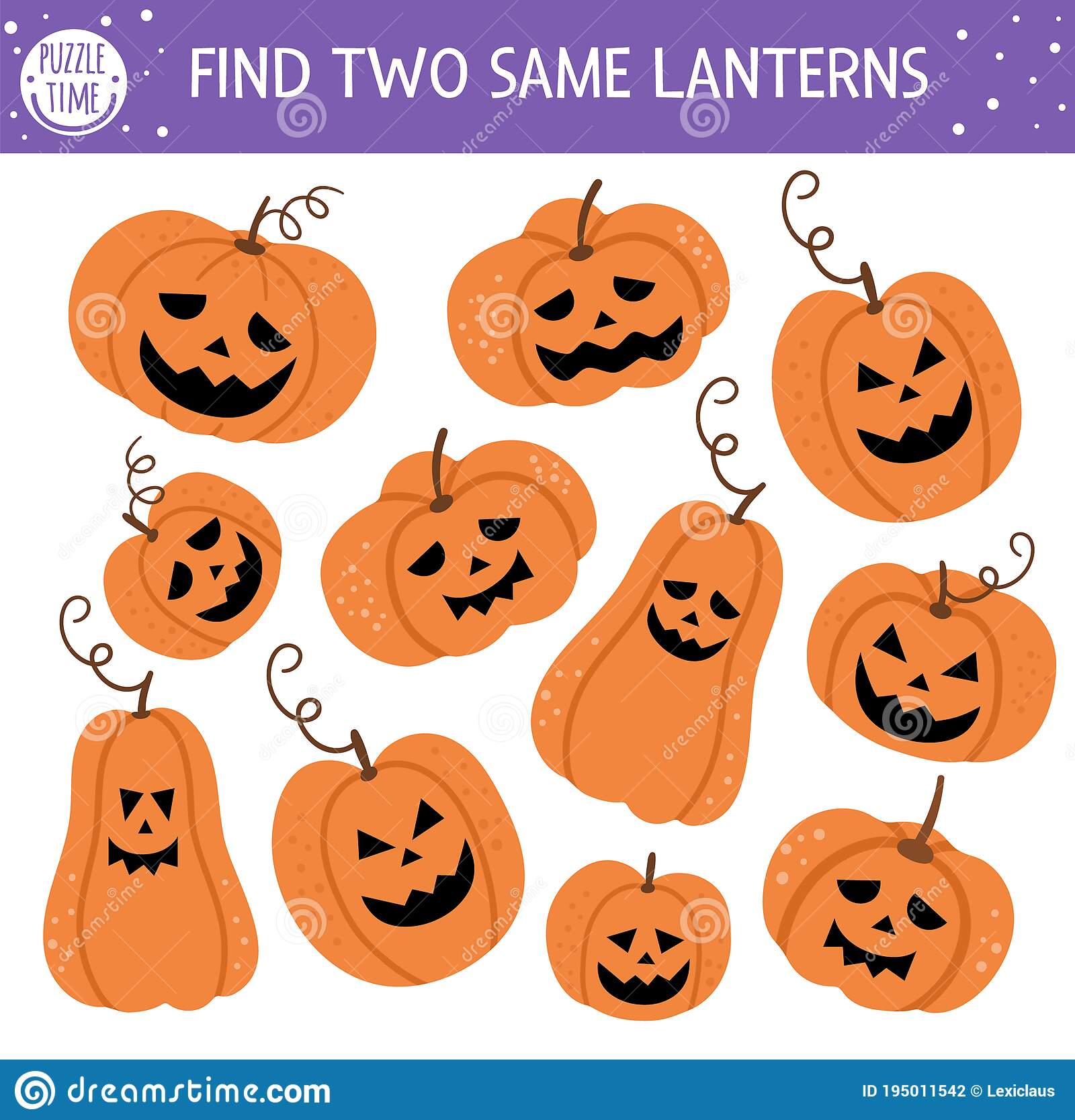 Find Two Same Jack O Lanterns Halloween Matching Activity