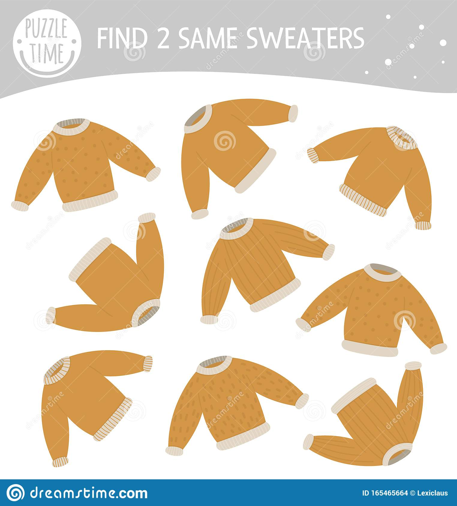 Find Two Same Sweaters Winter Matching Activity For