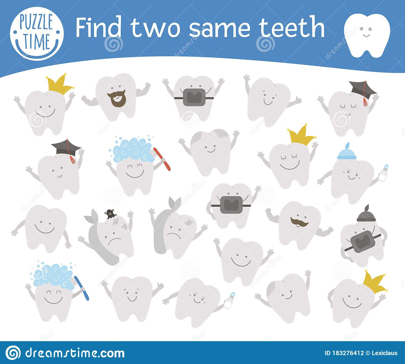 Find Two Same Teeth Dental Care Themed Matching Activity
