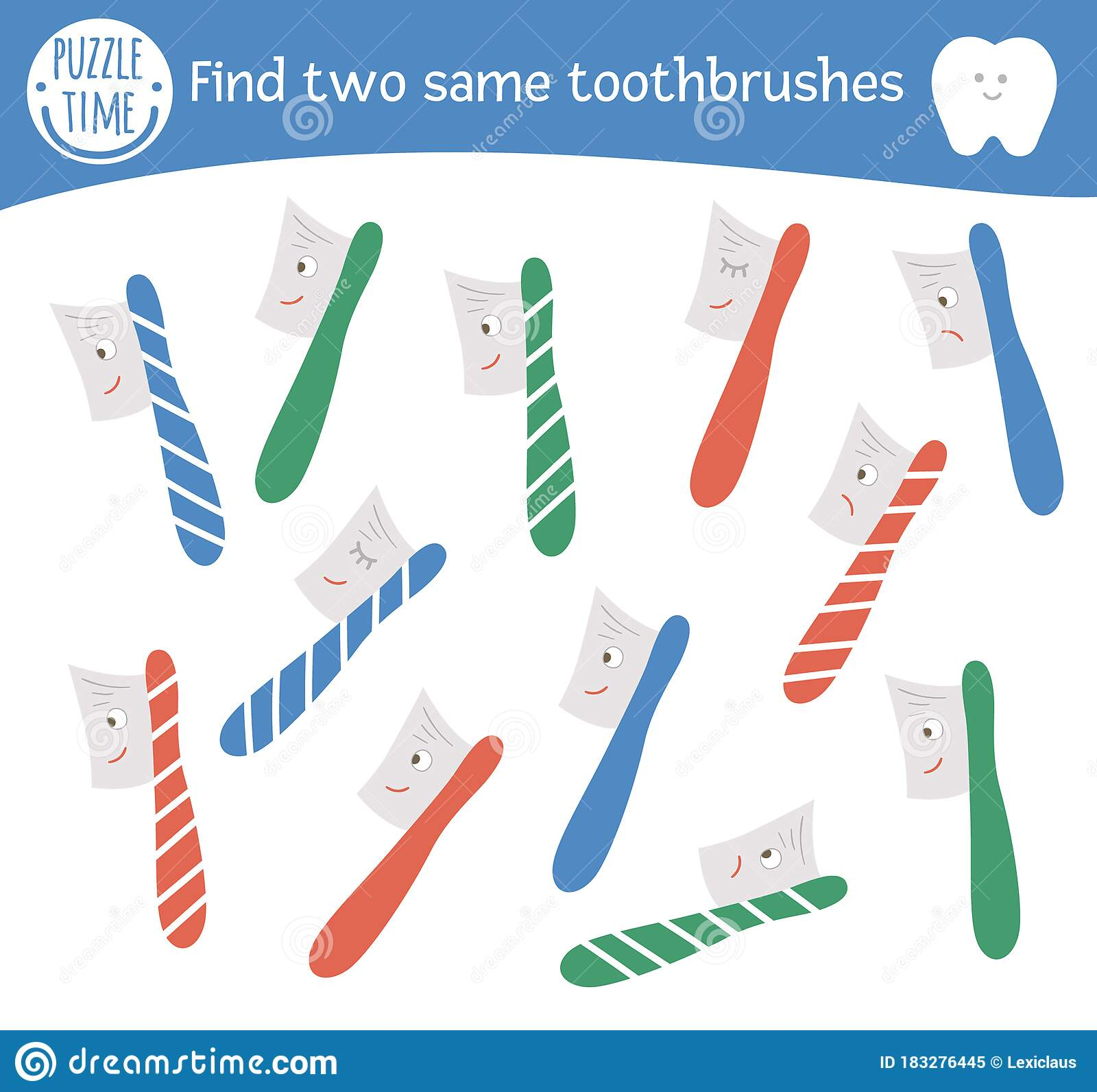 Nd Two Same Toothbrushes Dental Care Themed Matching