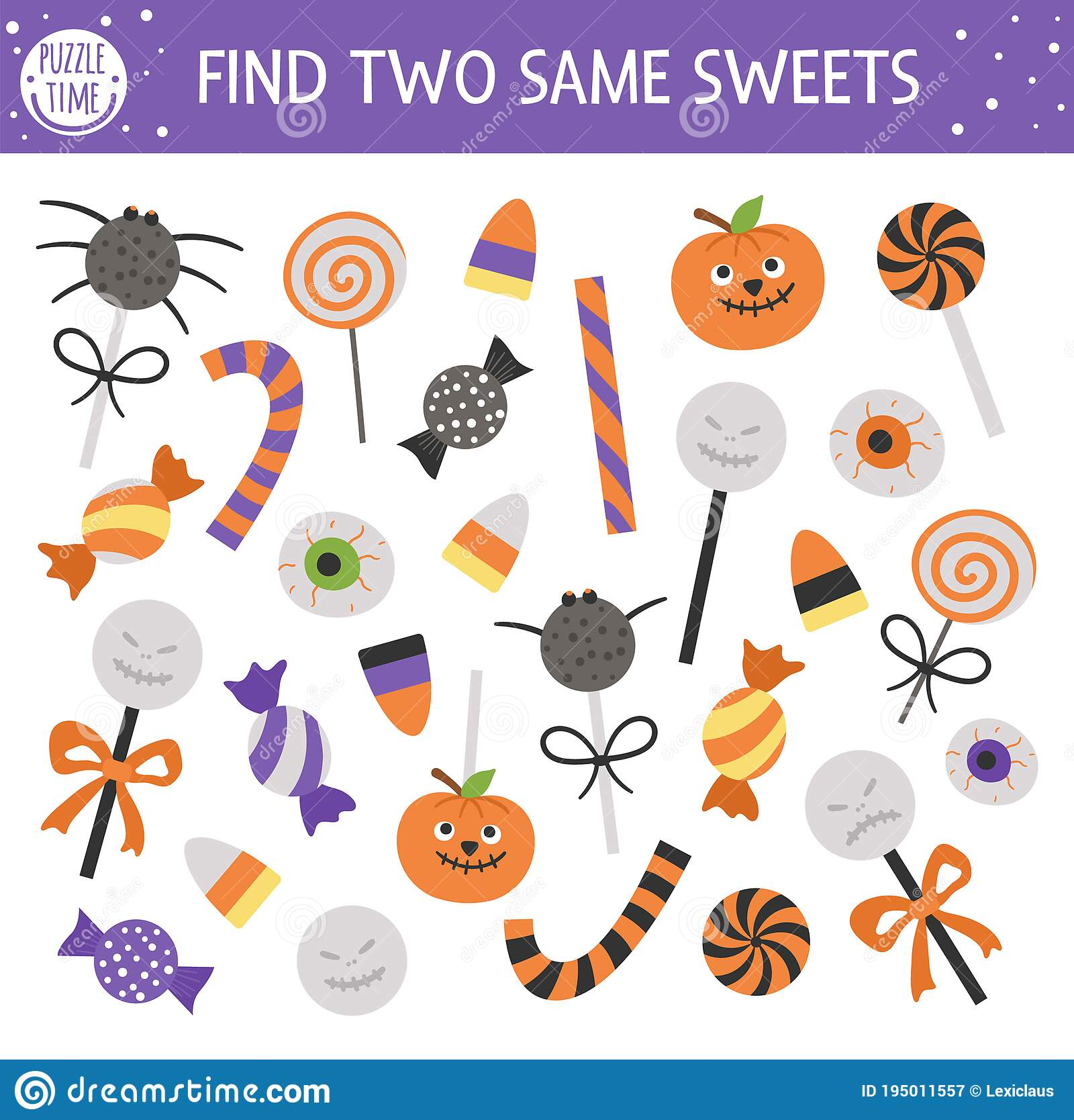 Find Two Same Trick Or Treat Sweets Halloween Matching