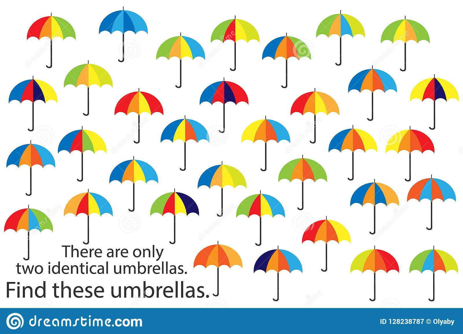 Find Two The Same Pictures Set Of Umbrellas Cartoon