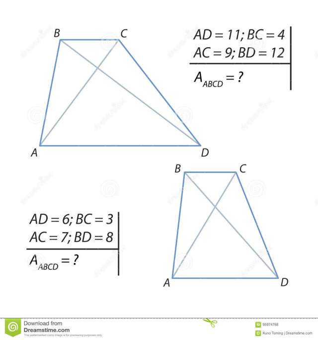 Finding the Area of a Trapezoids ABCD Stock Illustration