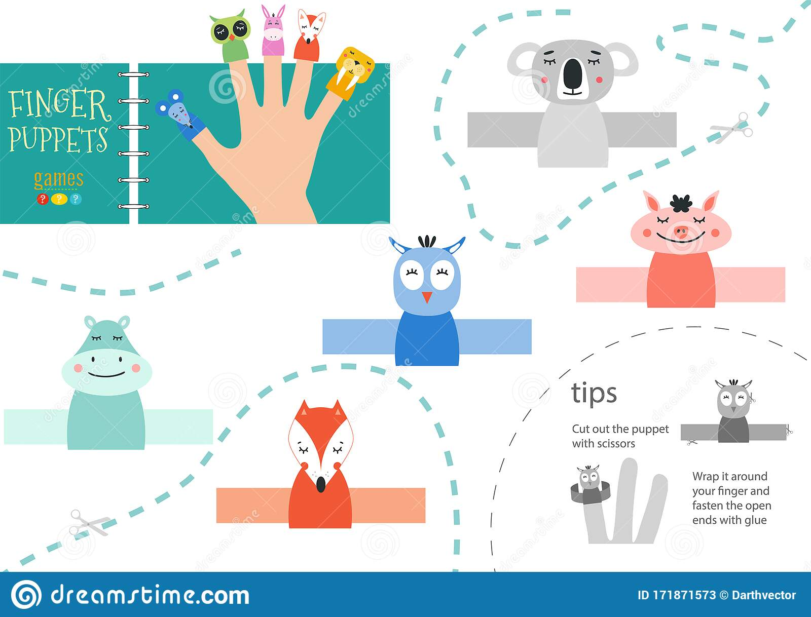 Finger Puppet Vector Animals Cut And Glue Educational