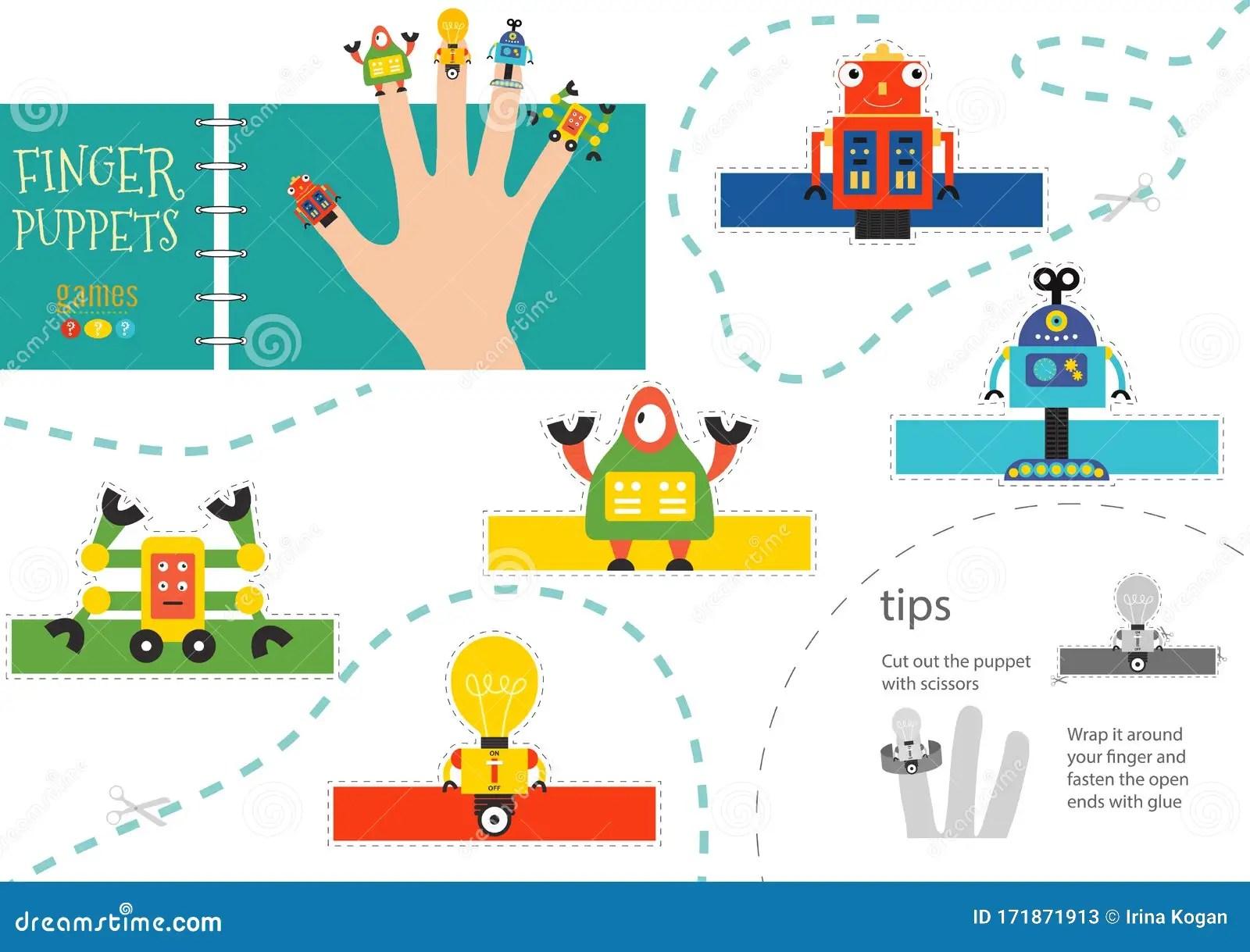 Finger Puppet Vector Robots Cut And Glue Educational