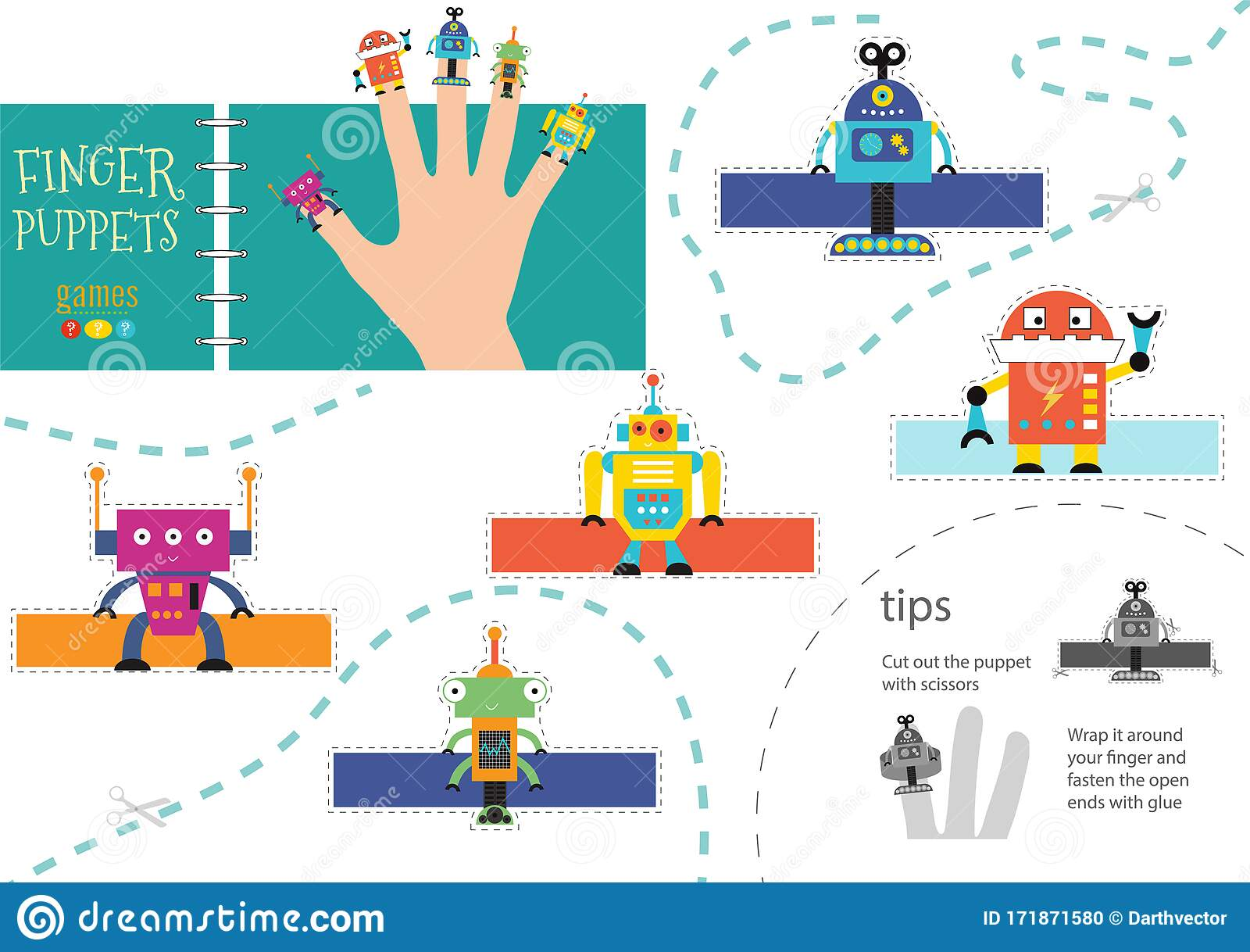 5 Finger Puppet Vector Robots Cutout Educational