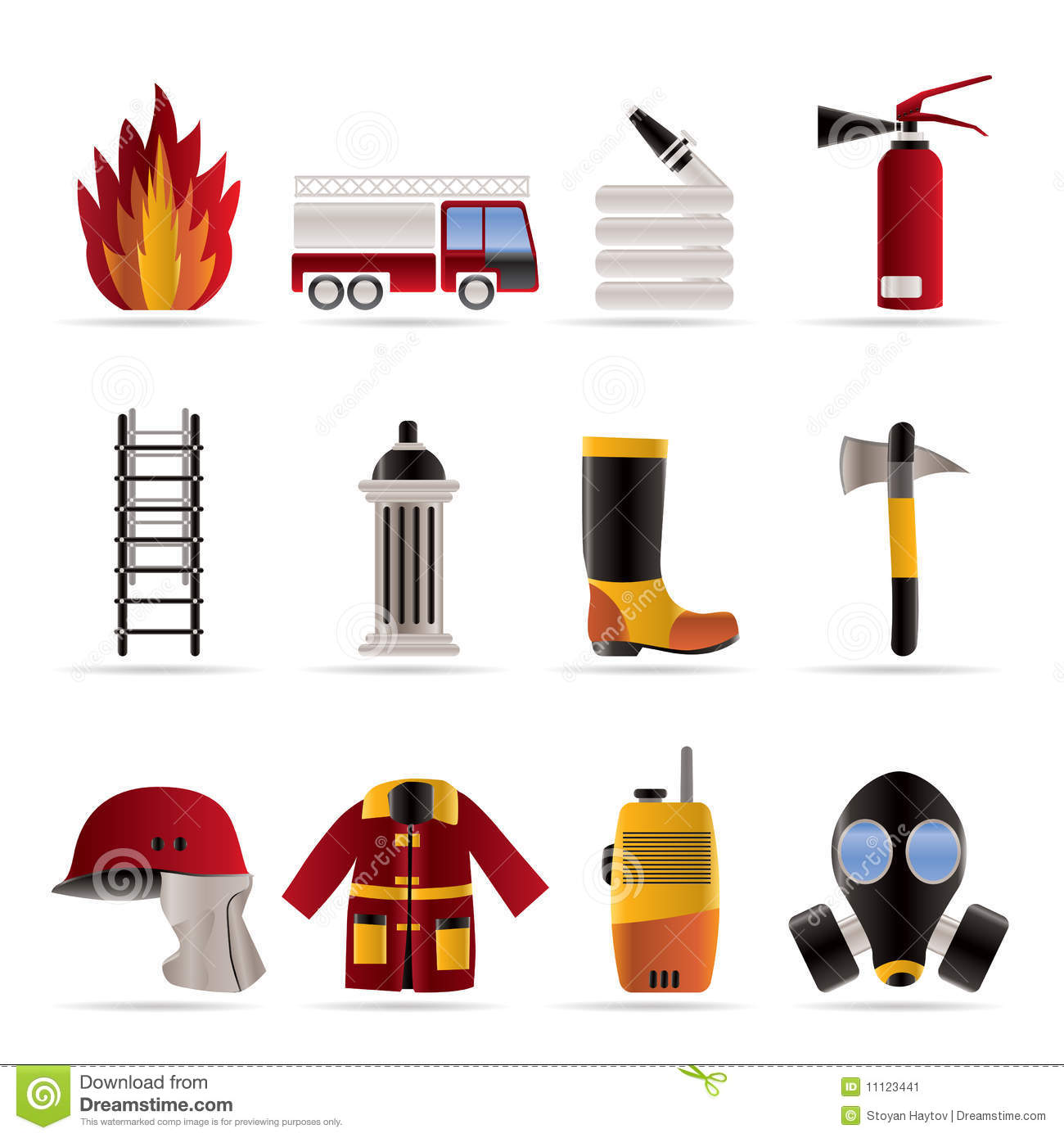 Fire Brigade And Fireman Equipment Icon