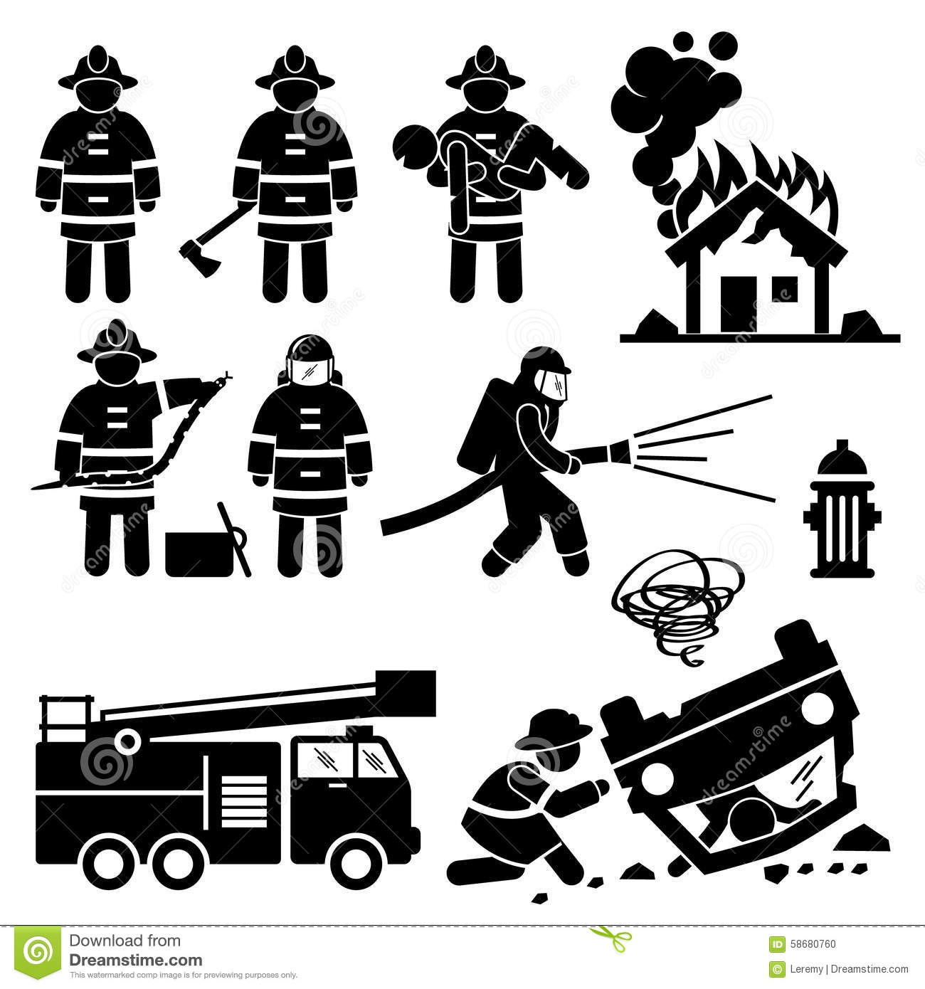 Firefighter Fireman Rescue Cliparts Stock Vector