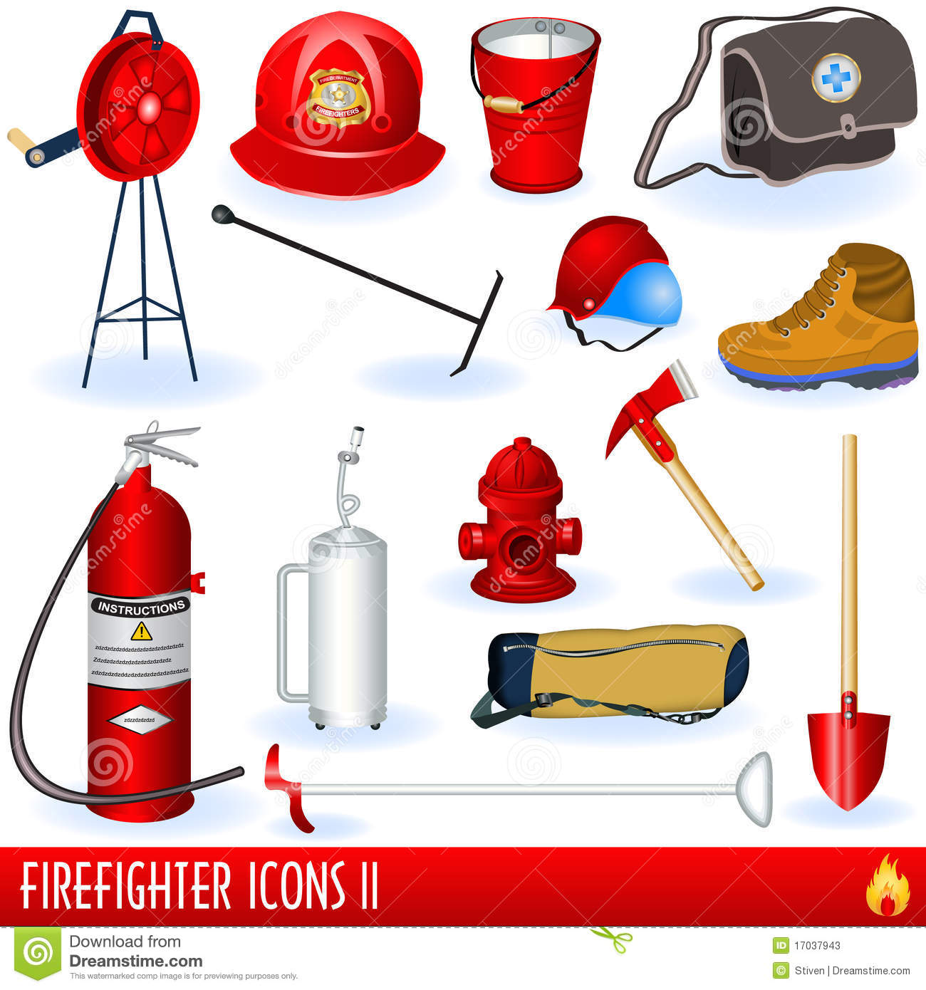 Firefighter Icons Stock Vector Illustration Of Equipment