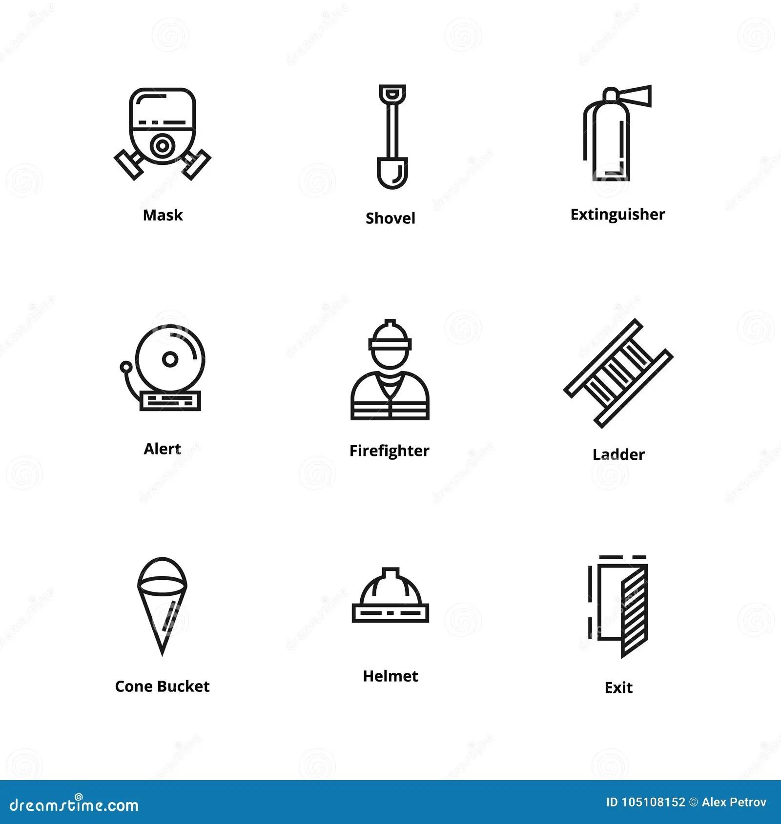 9 Firefighter Icons Stock Vector Illustration Of Ladder