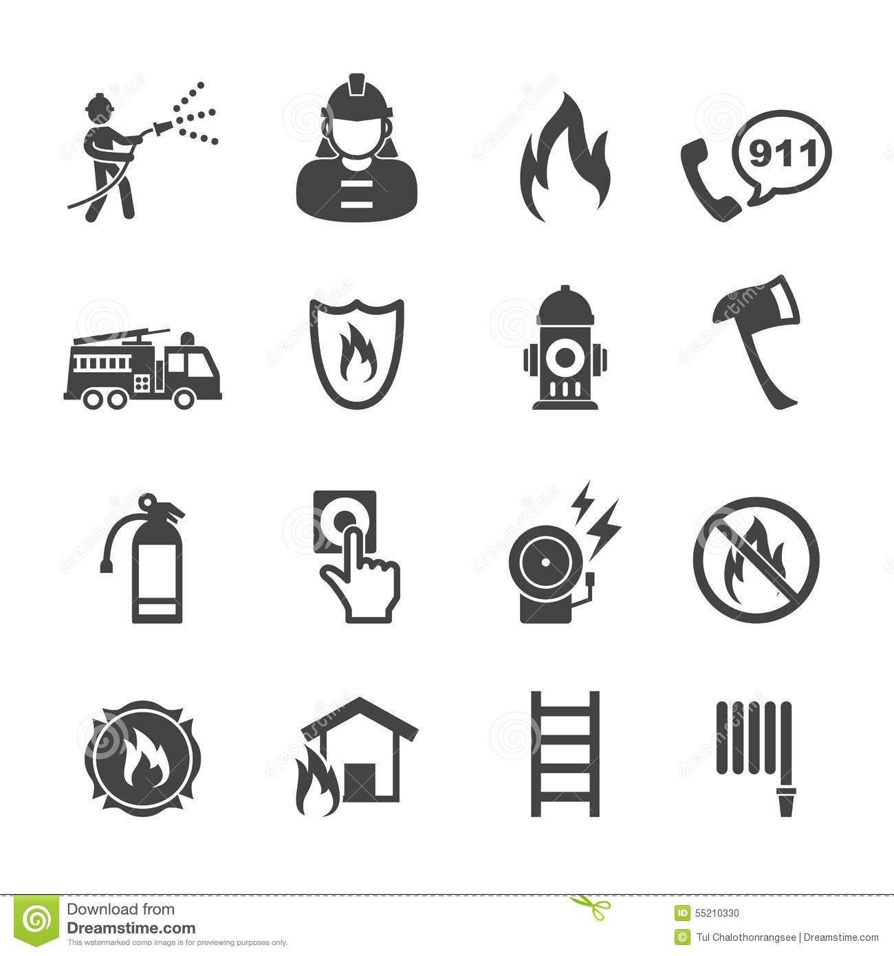 Firefighter Icons Stock Vector Illustration Of Mono