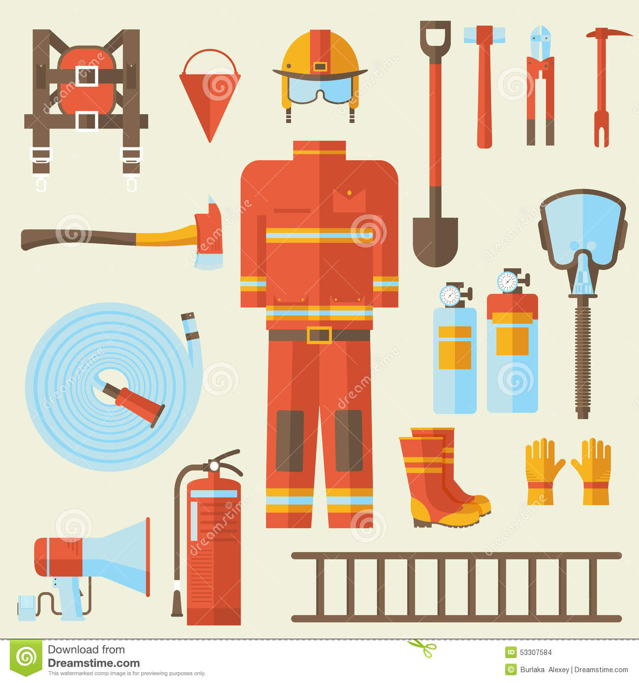 Firefighter Uniform And First Help Equipment And Stock