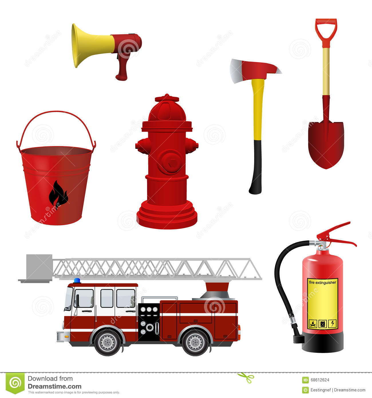 Firefighters Equipment Set Stock Vector
