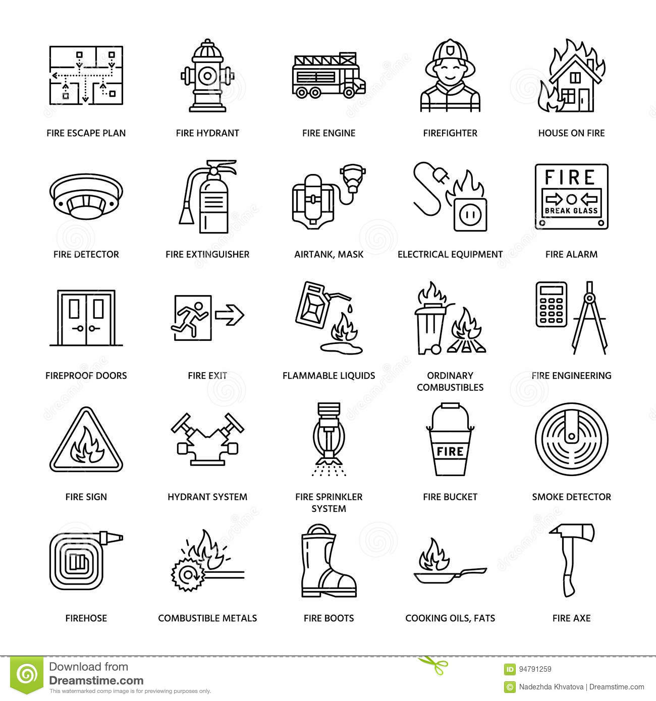 Firefighting Fire Safety Equipment Flat Line Icons