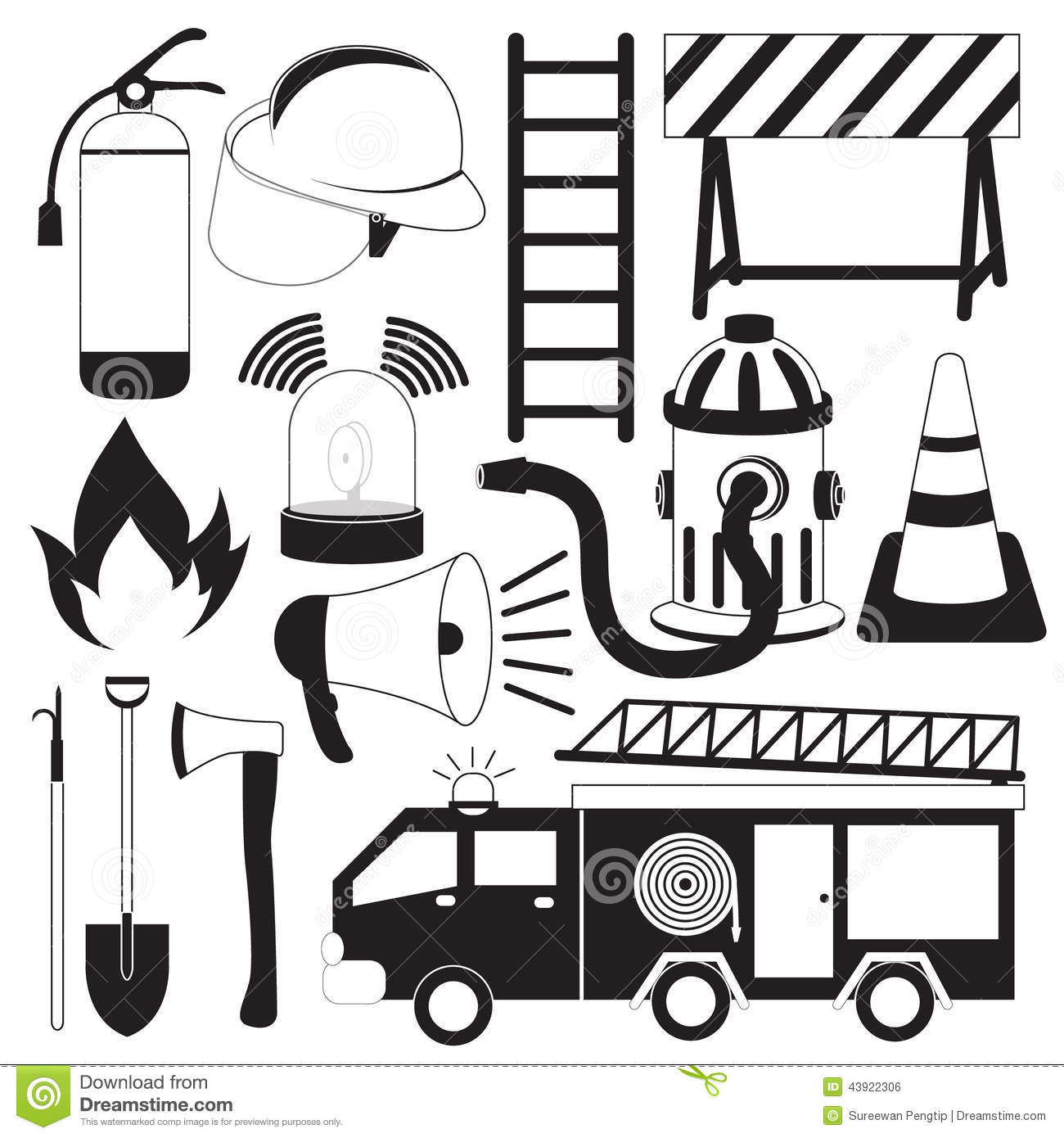 Firefighting Tool Icons Set Stock Vector