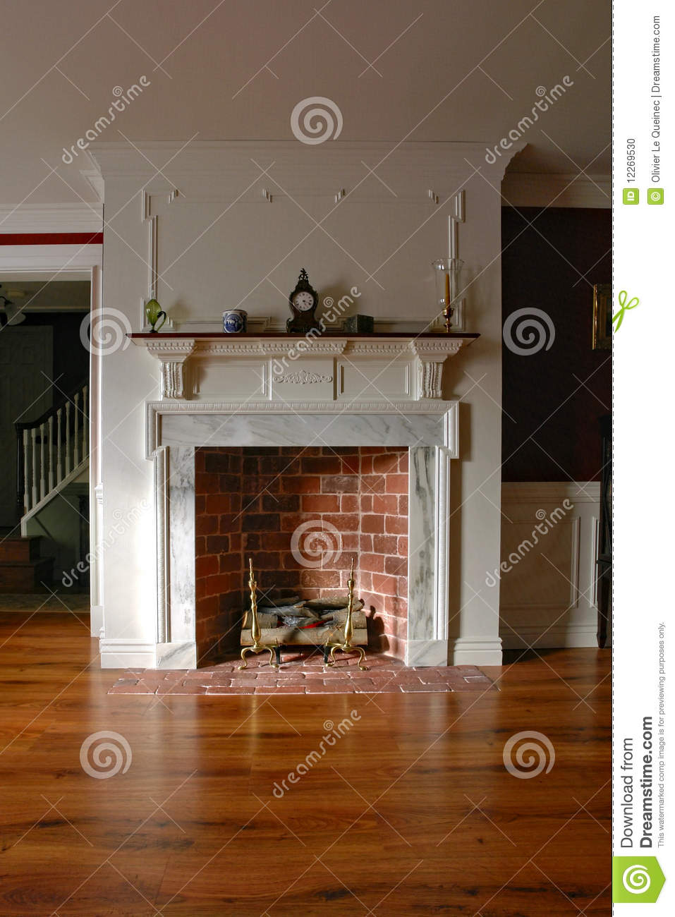 Fireplace In Antique Colonial Style Home Interior Stock