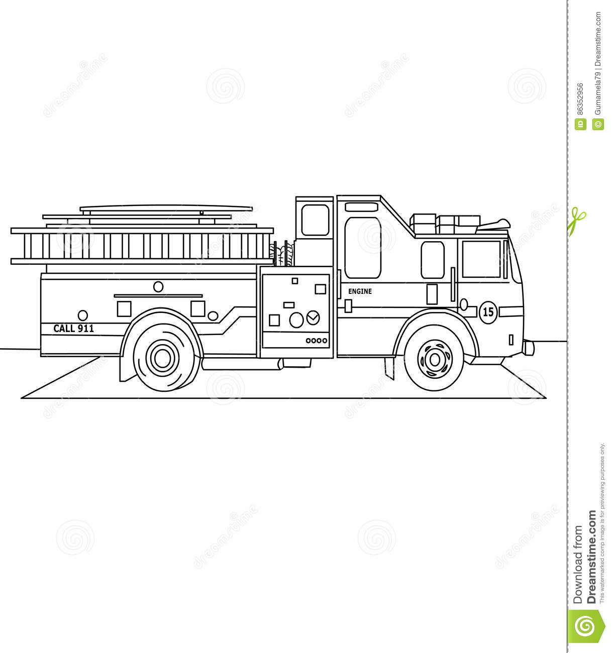 Firetruck Coloring Page Stock Illustration Illustration