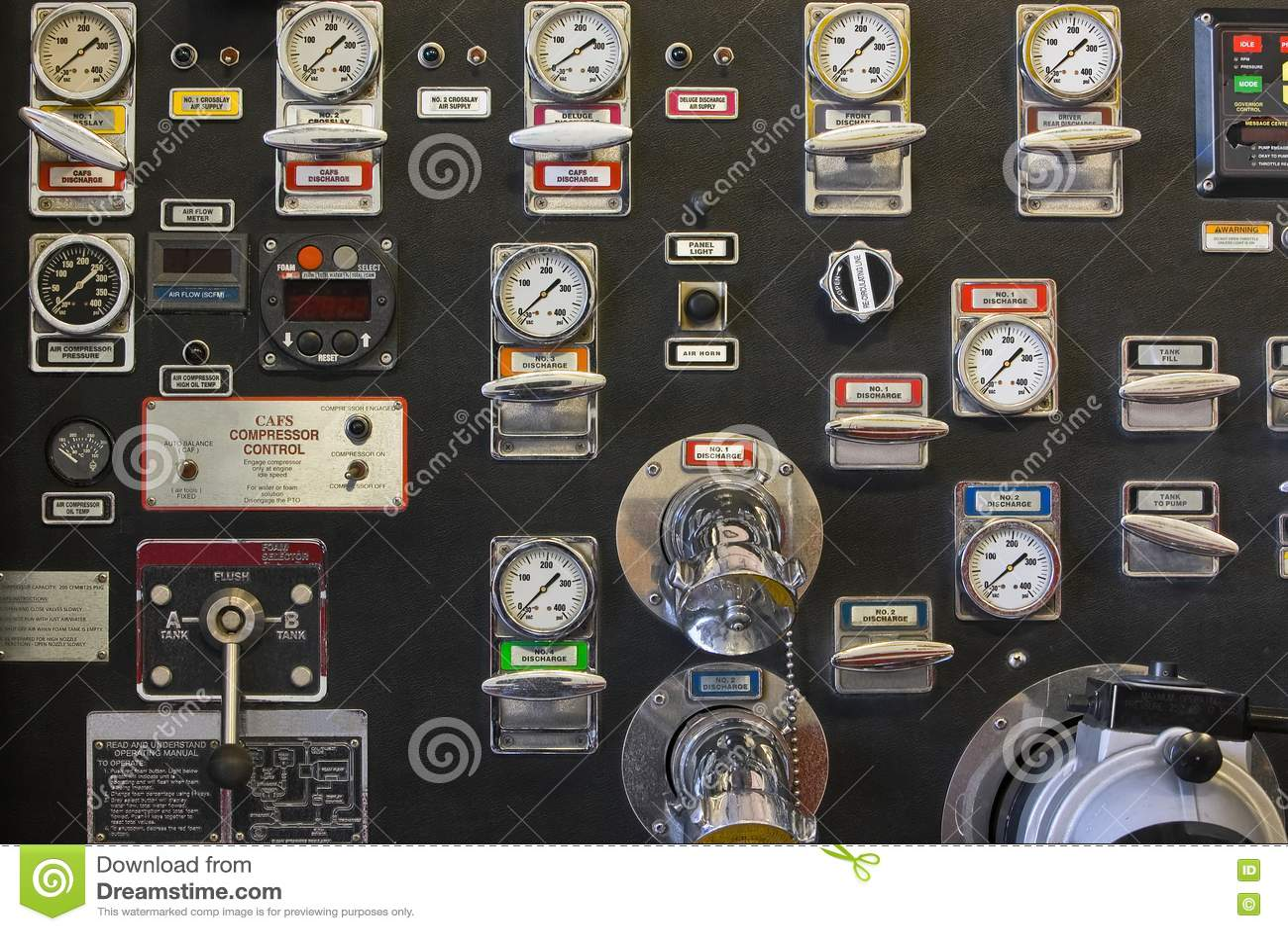 Firetruck Pump Panel Stock Image Image Of Apparatus