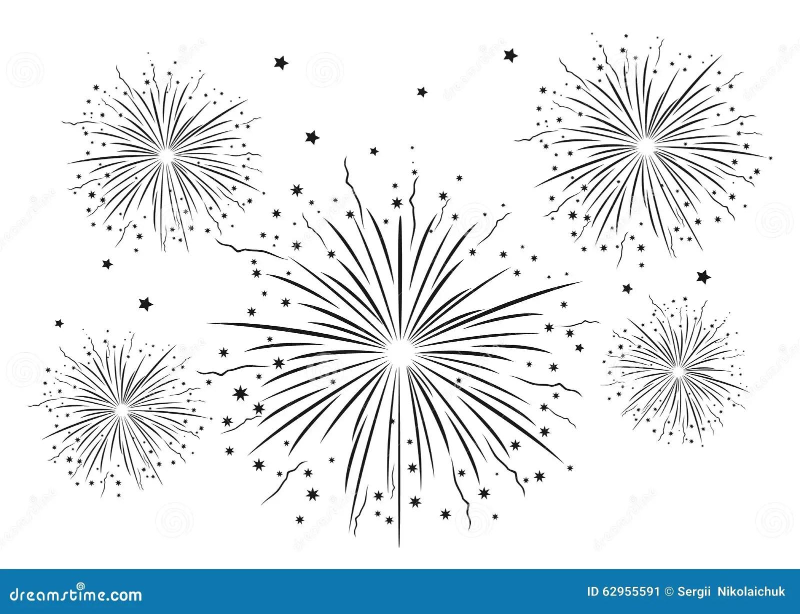 Fireworks Black And White Stock Illustration
