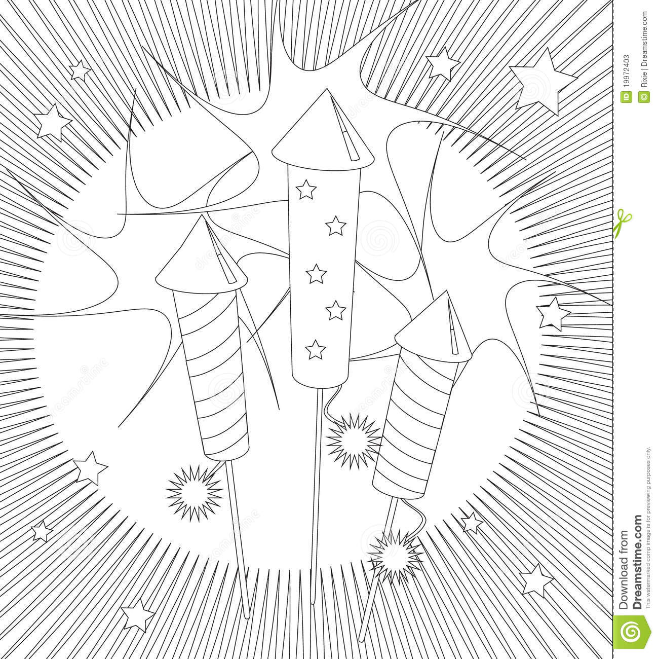 Fireworks Colouring Page Stock Photos