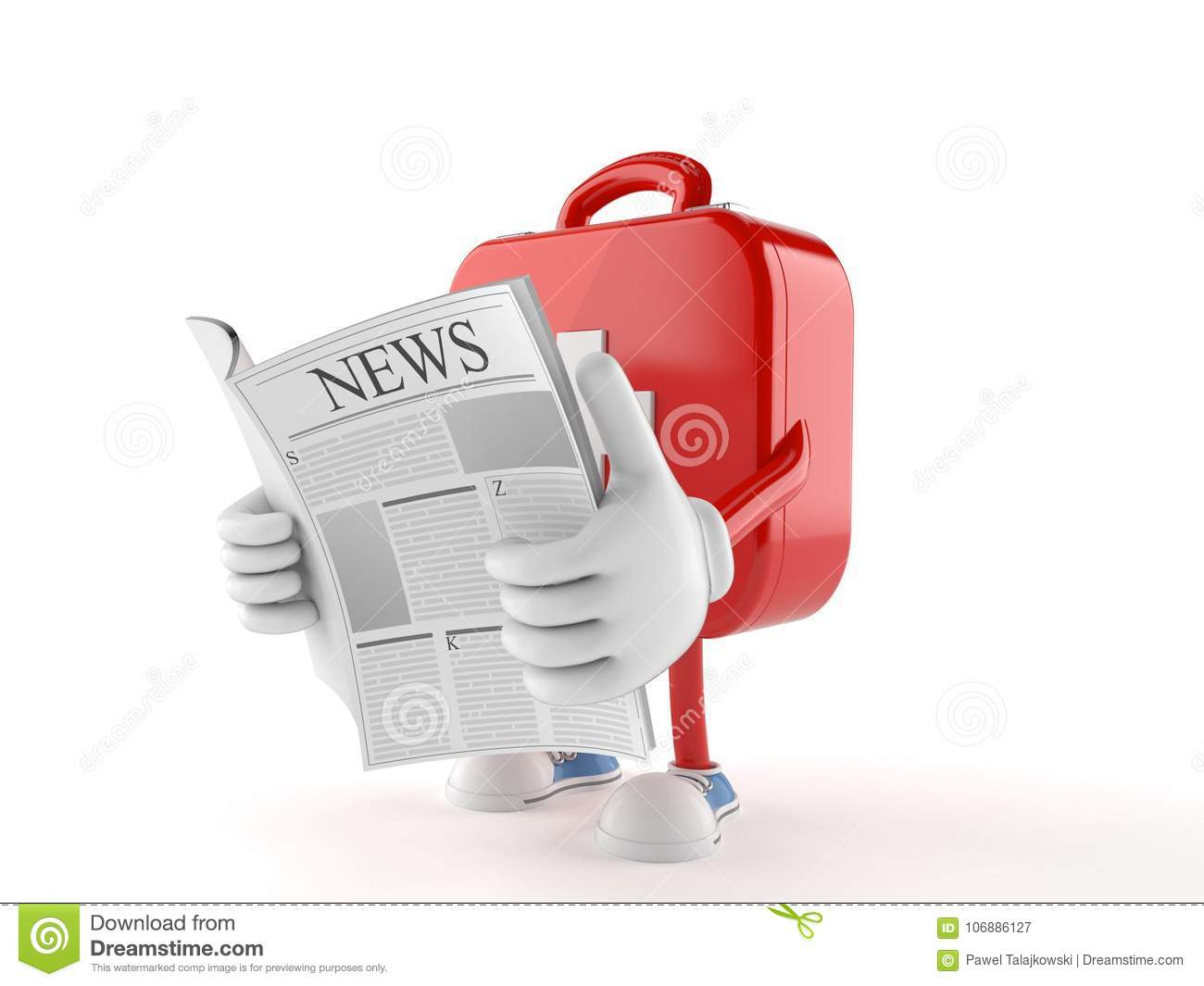 First Aid Kit Character Reading A Newspaper Stock