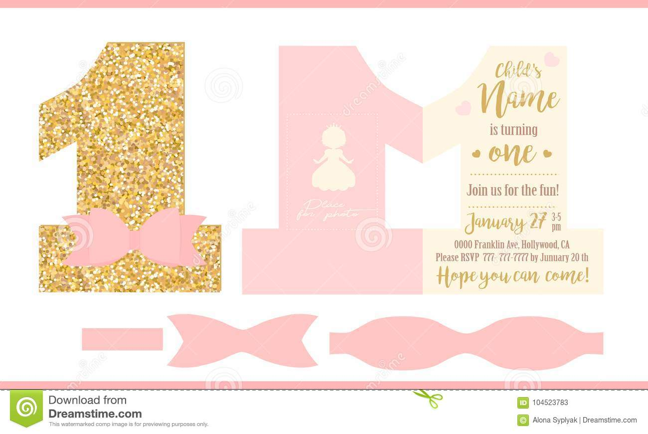 First Birthday Girl Party Printable Invitation Card For Little Princess Gold Glitter And Pink Stock Vector Illustration Of Little Greeting 104523783