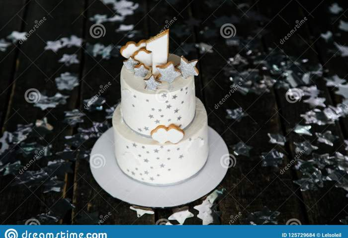 First Birthday White Cake With Stars And One Candle For Little Baby