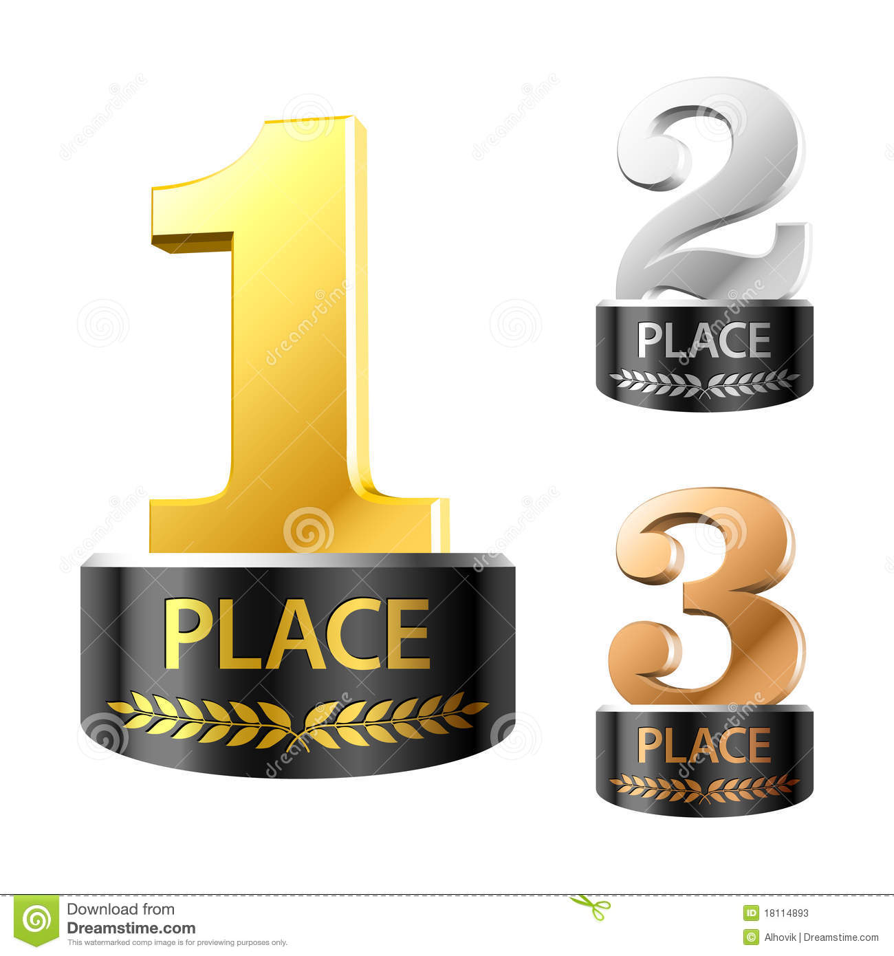 First Second And Third Places Stock Photos
