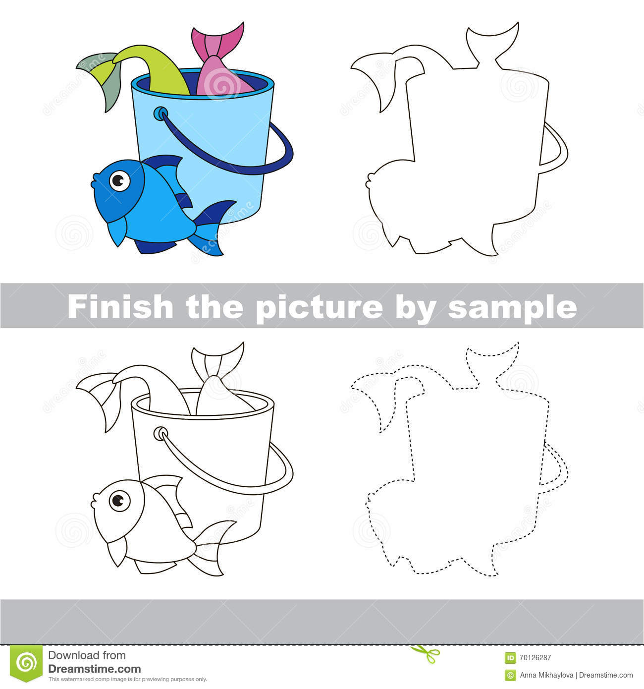 Fish Catch Drawing Worksheet Stock Vector