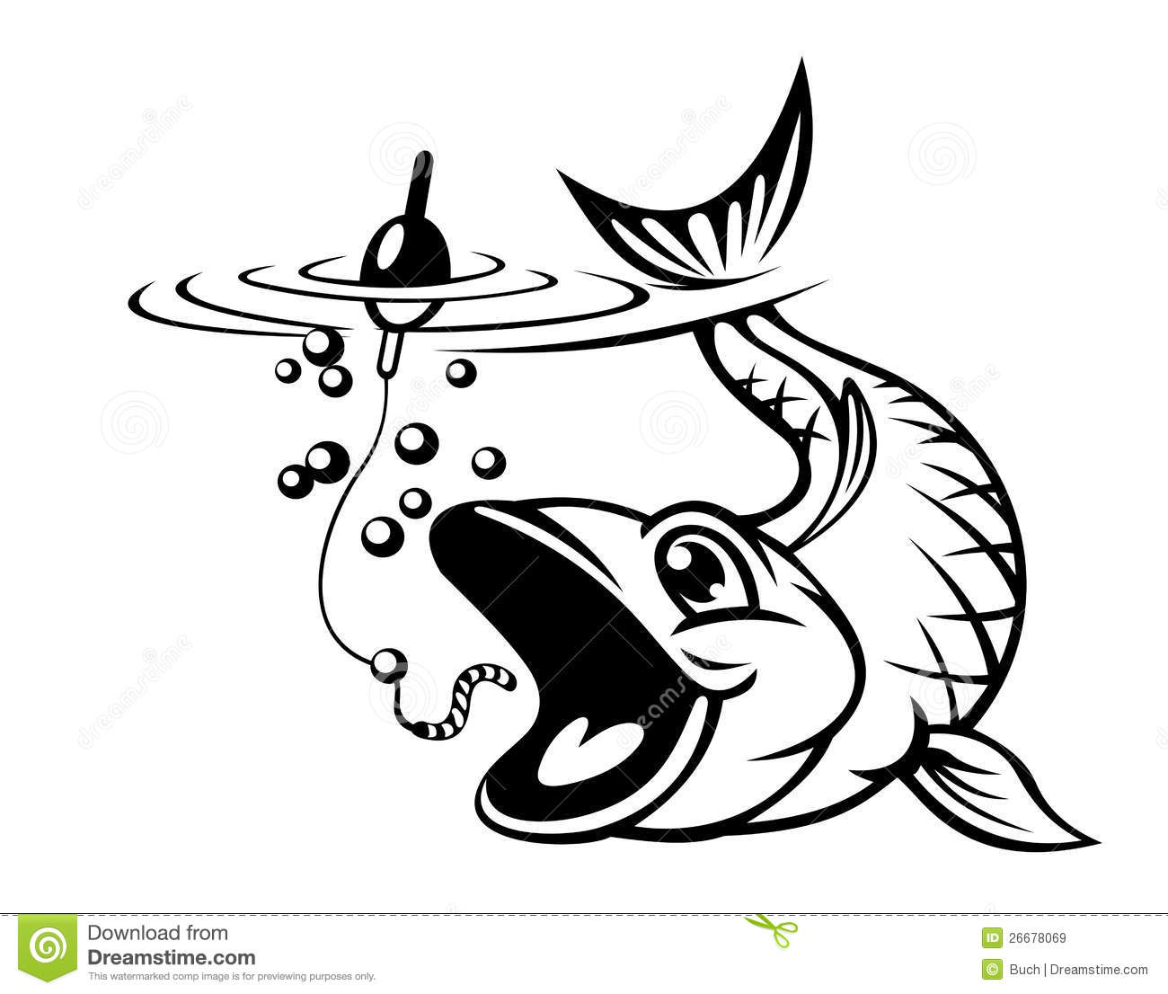 Fish Catching A Hook Stock Vector Illustration Of Pond