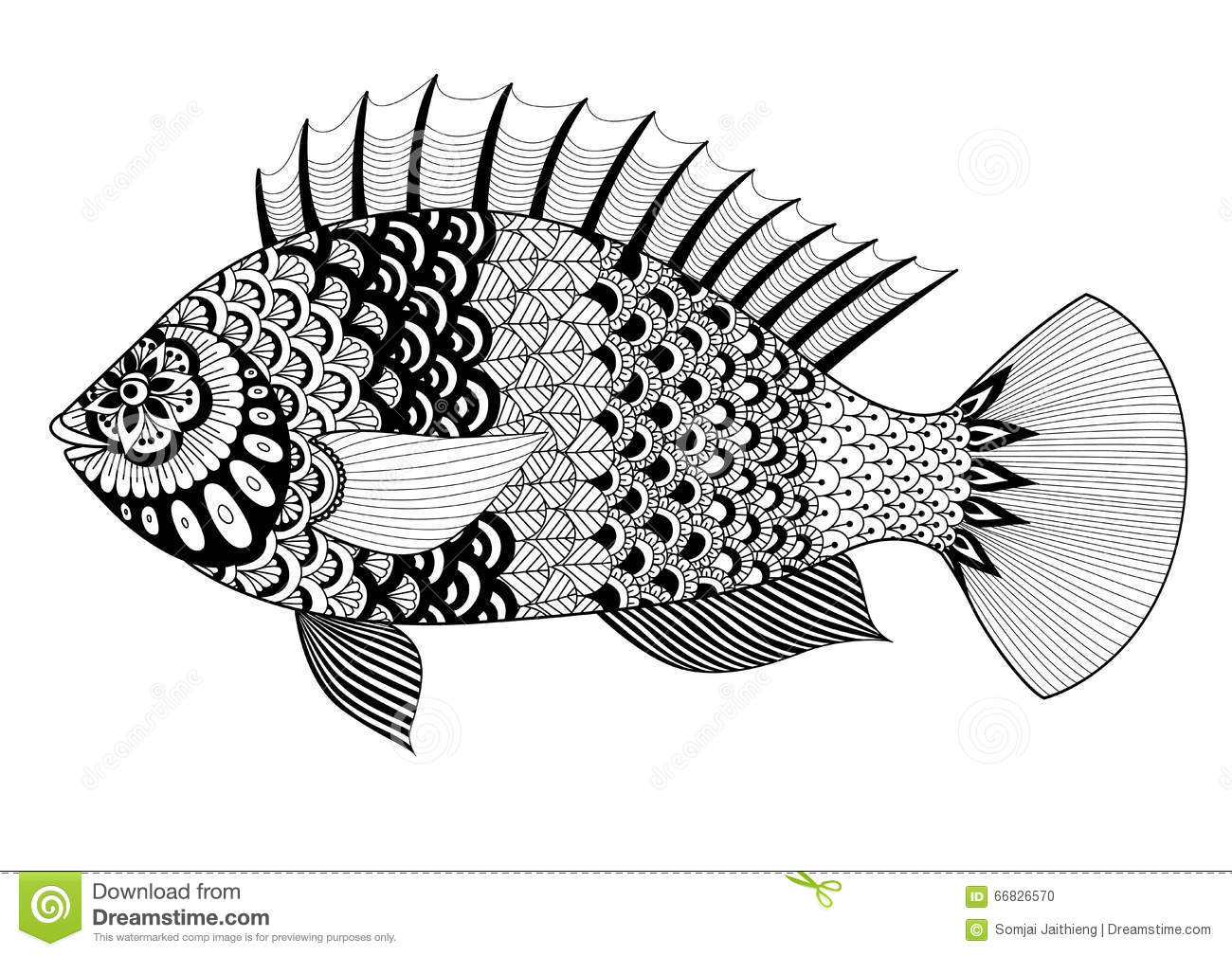 Fish Line Art Design For Coloring Book For Adult Tattoo