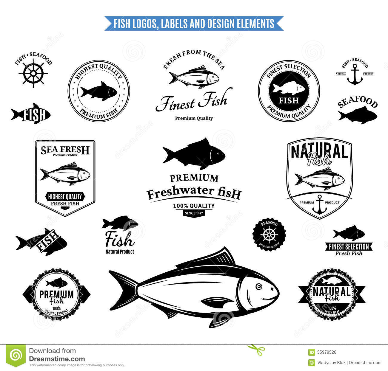 Fish Logos Labels And Design Elements Stock Vector