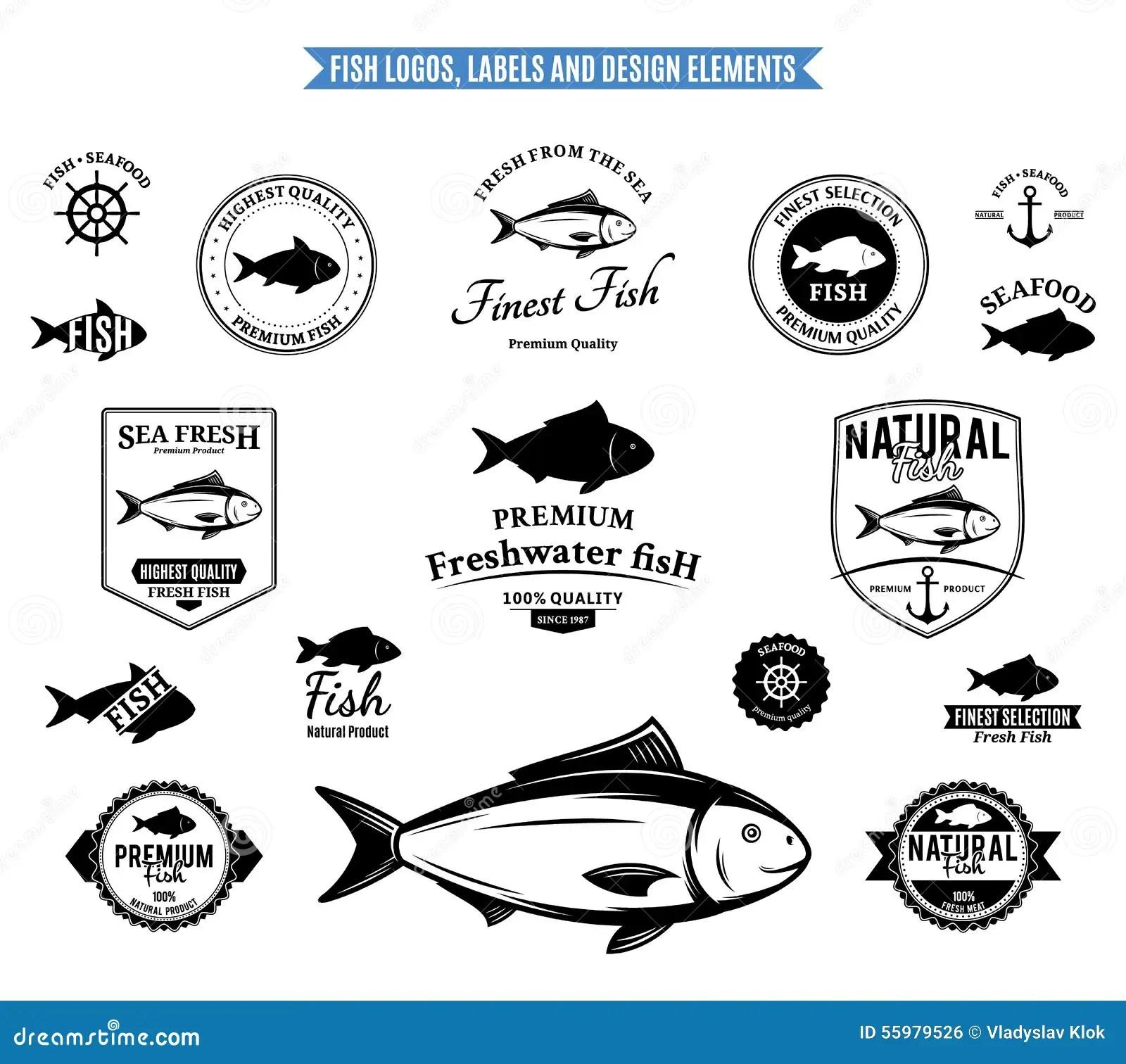 Set Of Fish Silhouette Seafood Menu Design Elements