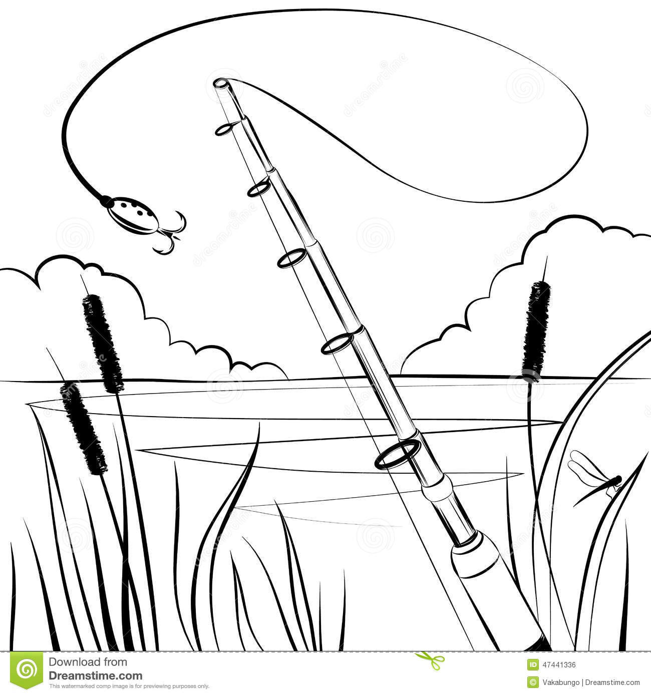 Fishing The Bait Near The Pond Stock Vector