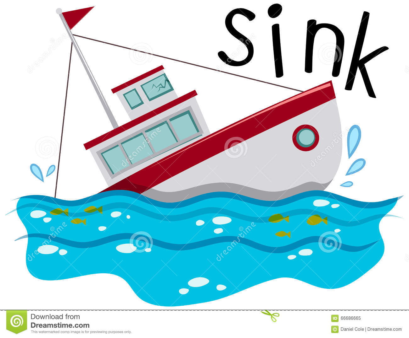 Fishing Boat Sinking Down The Ocean Stock Vector