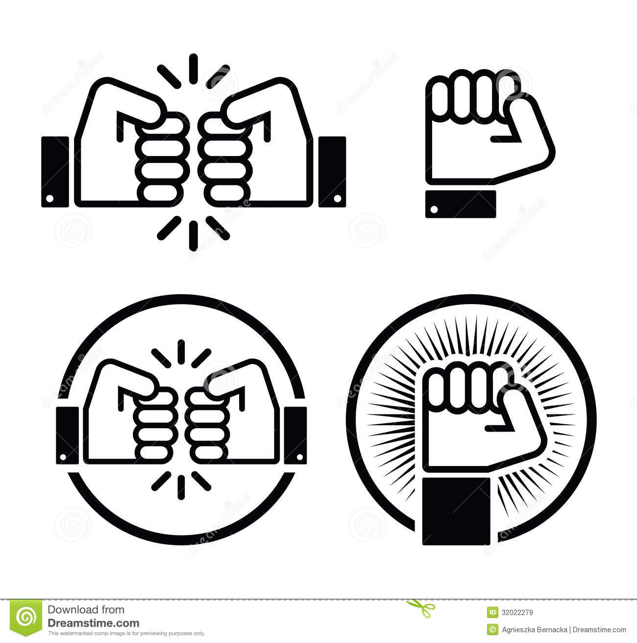 Fist Fist Bump Icons Set Stock Illustration Illustration