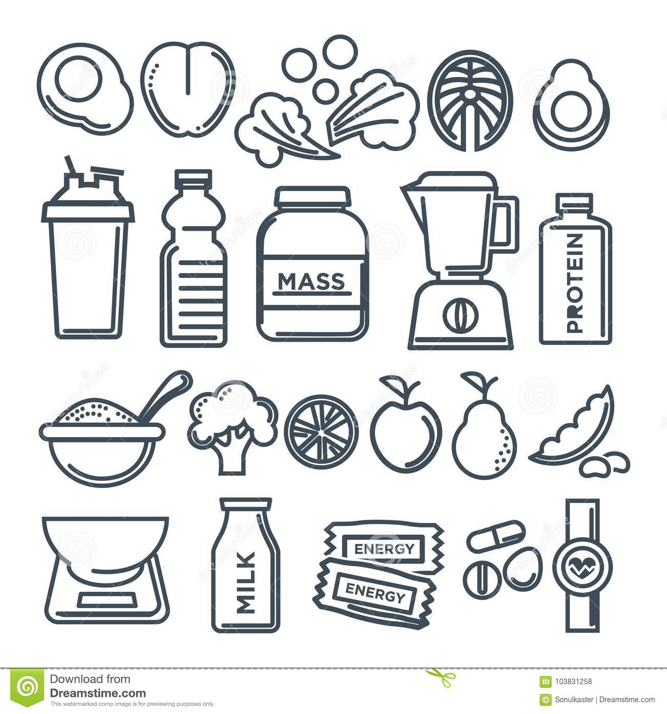 Healthy Lifestyle And Fitness Food Nutrition Vector Flat