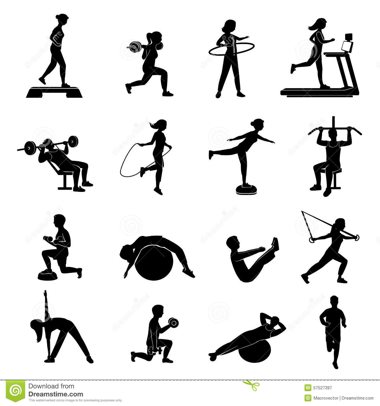 Fitness Men Women Blackicons Set Stock Vector