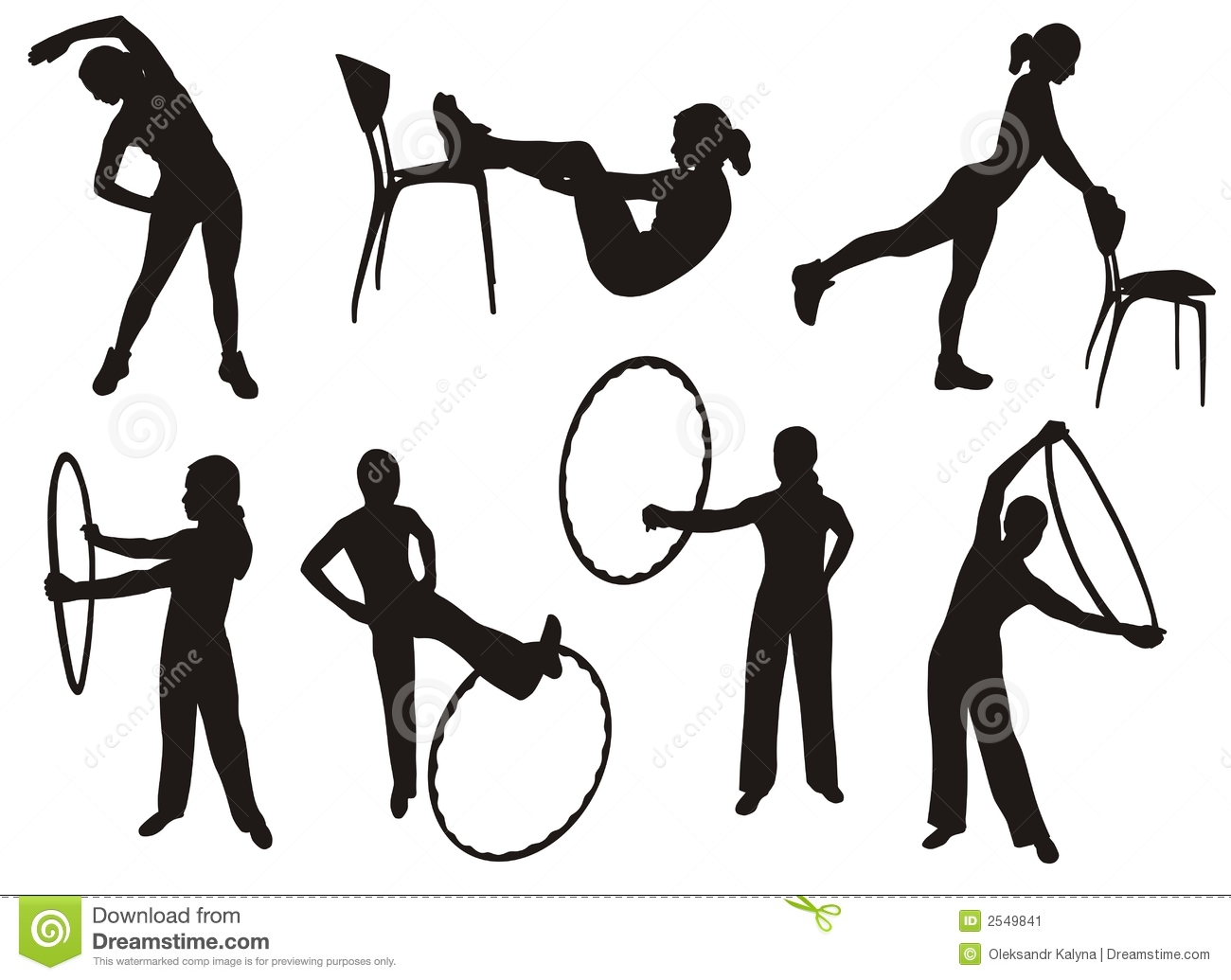 Fitness Silhouettes Stock Vector Image Of Cheerful