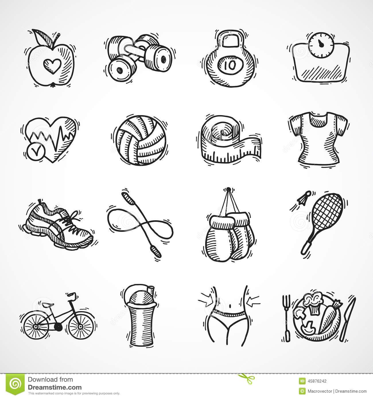 Fitness Sketch Icons Set Stock Vector