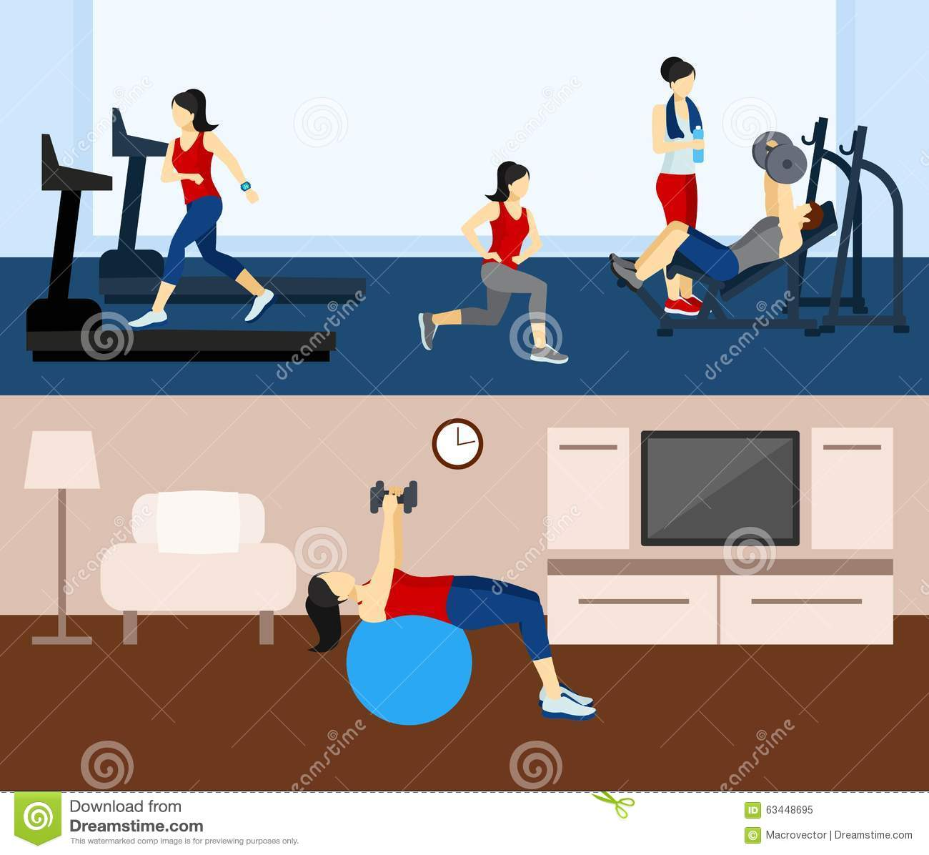 Fitness Workout Banner Stock Vector Image 63448695