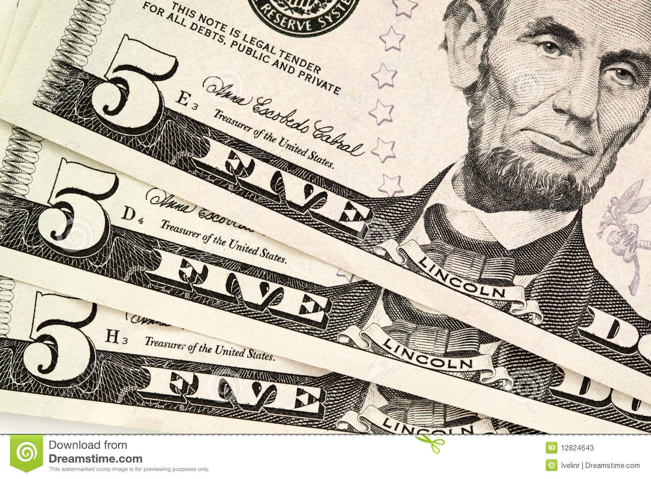 Five Dollar Bills Stock Image Image Of Nobody Dollar